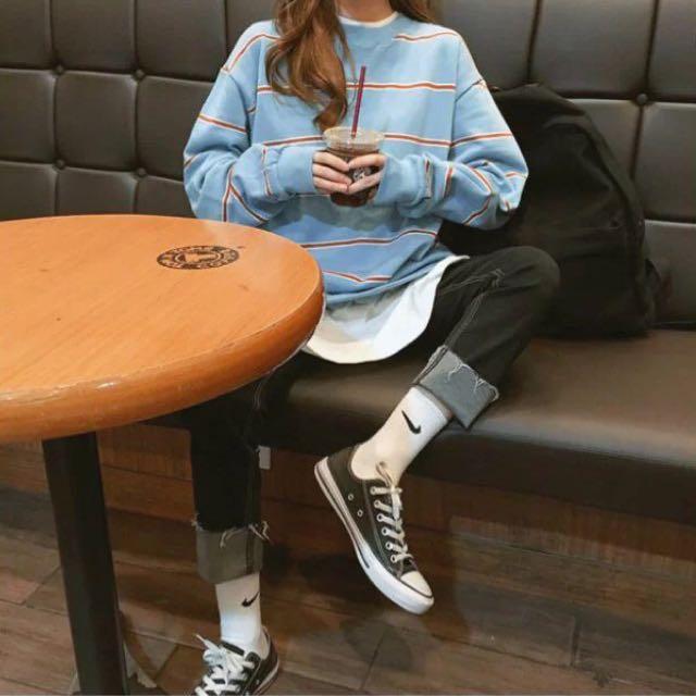 韓國代購MICHYEORA圓領條紋長袖T恤