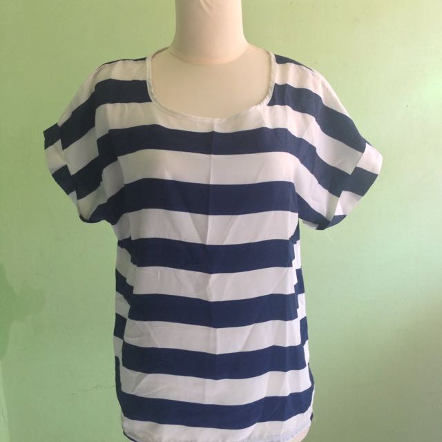 Navy Blue Stripe White Top
