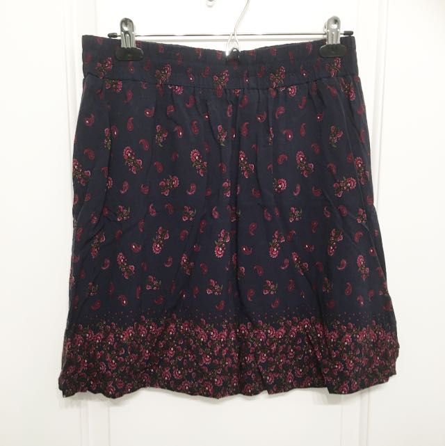 Navy Floral Flare Skirt With Pockets