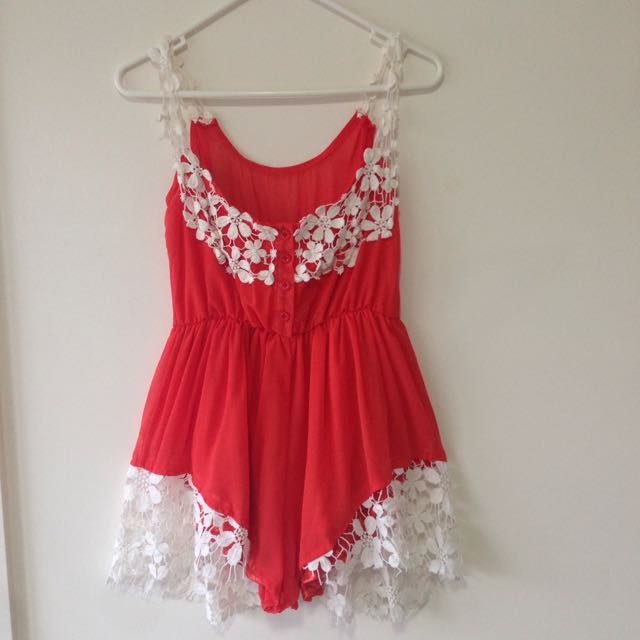 Orange playsuit/ romper with flower lace detail