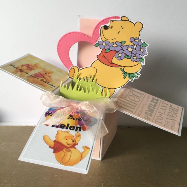 Pooh Bear Birthday Box Card Design Craft Others On Carousell