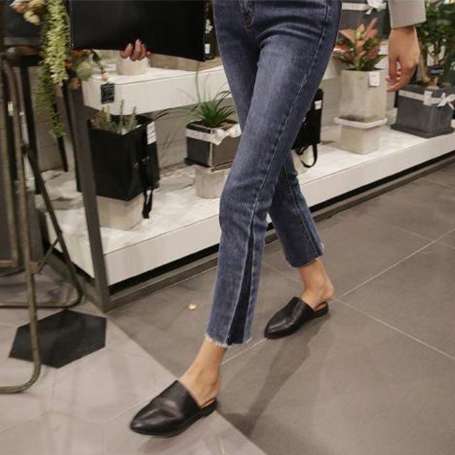 S-L韓國顯瘦拼接毛邊牛仔褲