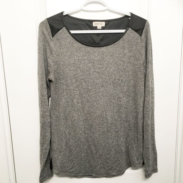 Smartset Faux Leather Accent Sweater