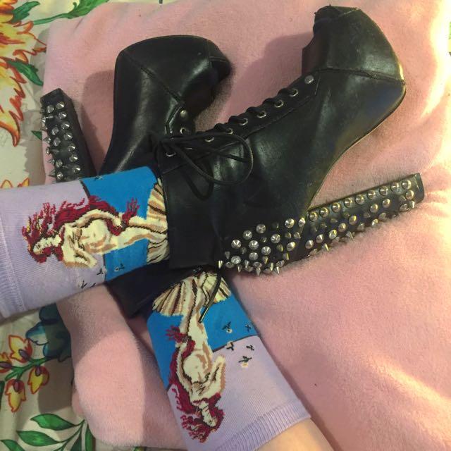 Studded Black Peep Toe Boots