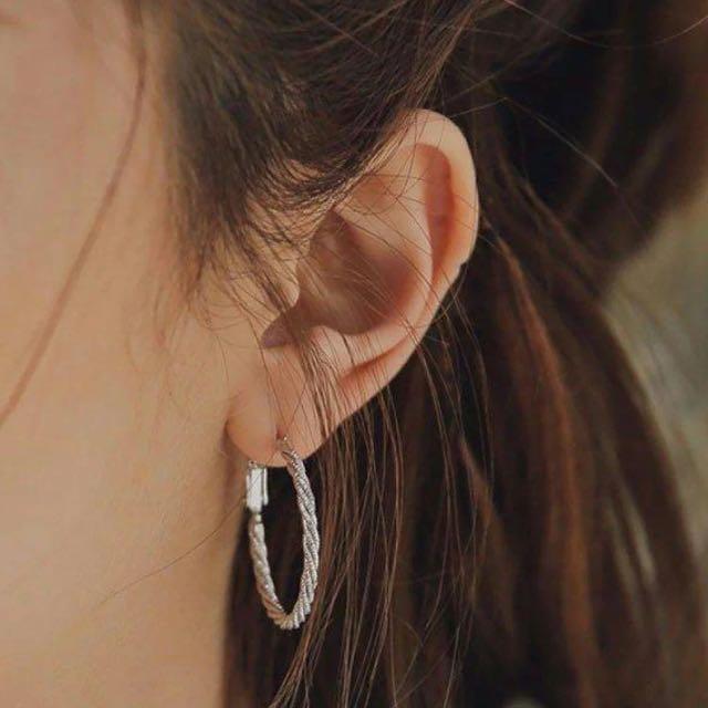 韓國代購StyleNanda銀色圓圈耳環