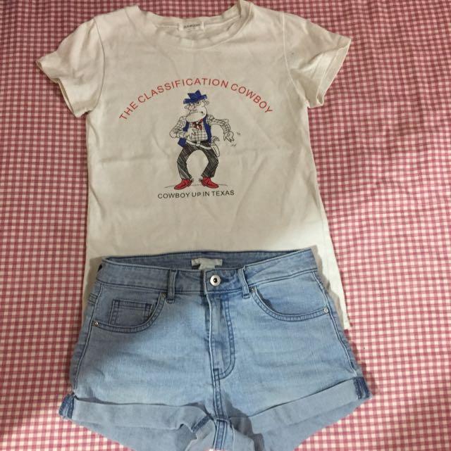 卡通T恤+HM牛仔熱褲