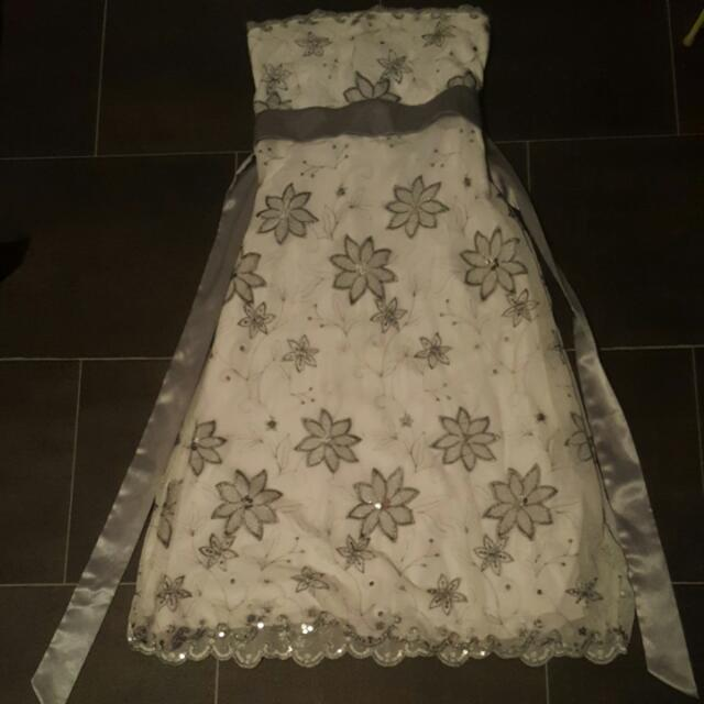 White And Pewter Strapless Dress