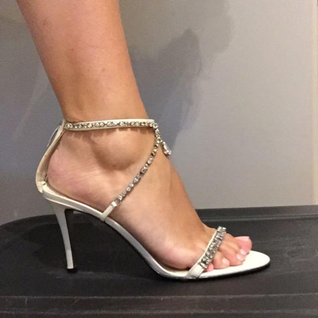 White Rhinestone Ankle Strap Heels