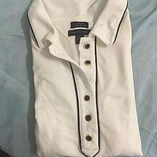 Women's White Button Down Dress Shirt Size M