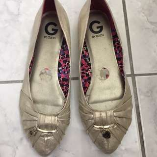Women Guess Flats Golden Color