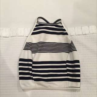 B&W Striped Crop Top