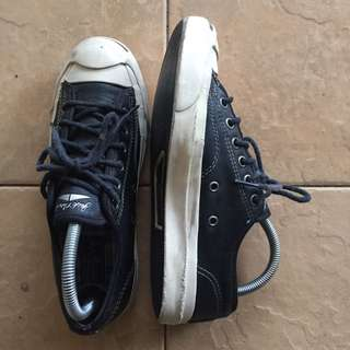Black Leather Converse Jack Purcell Classic