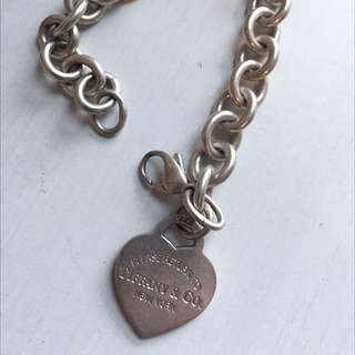 "Tiffany & Co. Silver Chain Link Bracket With ""Please Return To Tiffany"" Heart Charm"