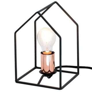 BLACK RITA GEOMETRIC BEDSIDE LAMP & FRAME - UNIQUE