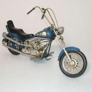 BLUE FLAMES VINTAGE STYLED CHOPPER MOTORBIKE MODEL REPLICA ORNAMENT