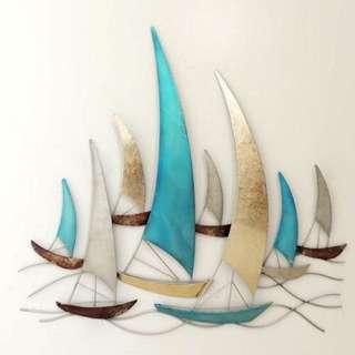 BOATS SEA LIFE FEATURE ART METAL WALL HANGING