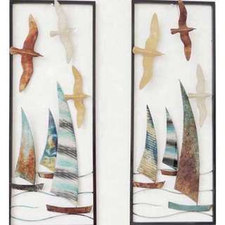 BOATS SEA LIFE FEATURE ART METAL WALL HANGINGS (SET OF TWO)