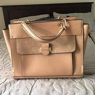 Tan Tote Bag With Gold