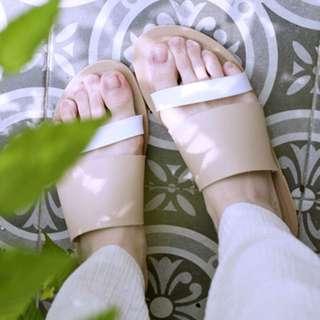 BalletA 裸色寬帶拖鞋
