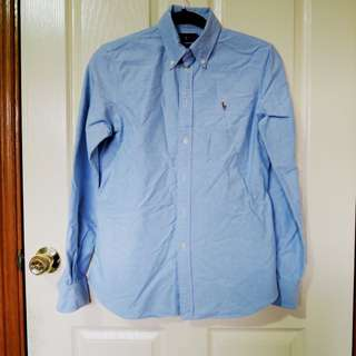 RALPH LAUREN Chambray Blue Shirt M 8 -10