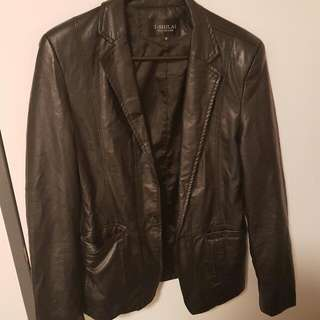 ($0mailing)Faux Leather Black Jacket