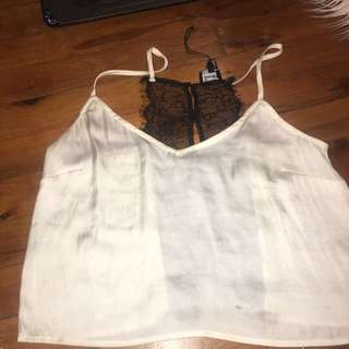 Beautiful Silk And Lace Bardot Crop Top
