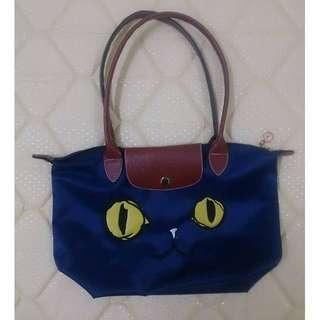 (保留)Longchamp熱門款🎉貓咪長柄水餃包 深藍色滑面