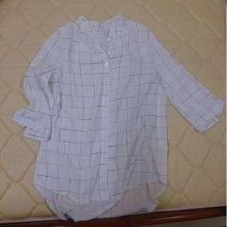 (保留)全新🎉 小清新麻料格紋前短後長亨利領襯衫