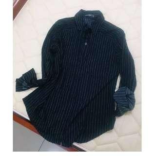 (保留)QueenShop🎉質感超好的全新黑底細條紋雪紡襯衫