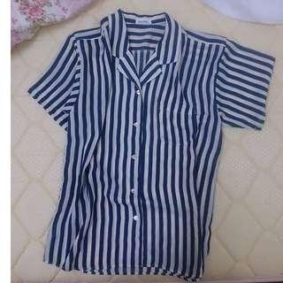 保留)藍x米黃條紋🎉 左邊口袋短袖雪紡條紋襯衫