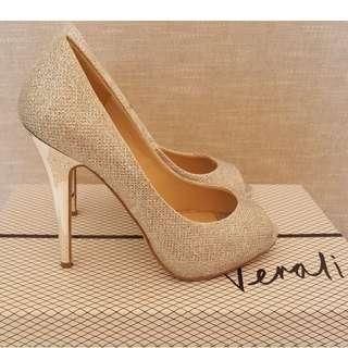 Silver Glitter Peeptoe Heels Size 7
