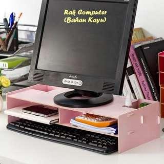 Rak Computer Bahan Kayu (Rak untuk tempat monitor)