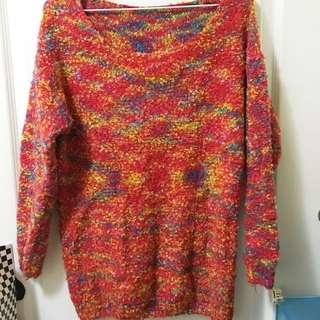 🍁變天囉🍁繽紛喜氣寬領針織紅毛衫