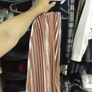 超美 全新玫瑰金粉色 鬆緊腰金屬百摺裙