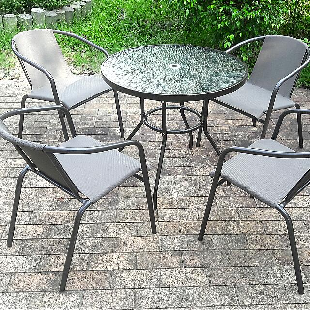 網布休閒桌椅組【一桌4椅】深咖啡色系列