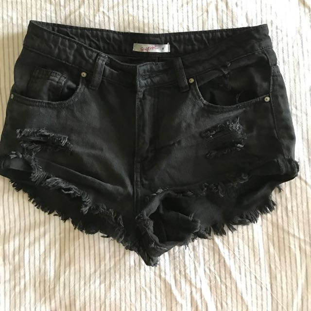 8 Black Supre High Waisted Shorts