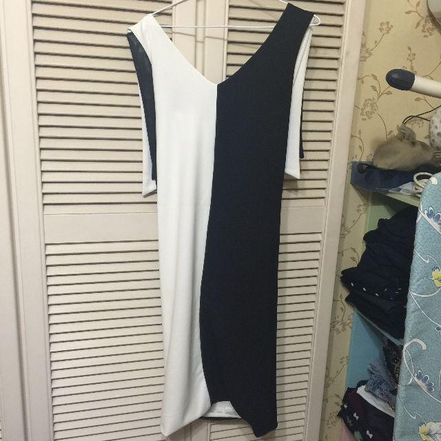 歐美設計款黑白拼接細肩帶窄裙洋裝