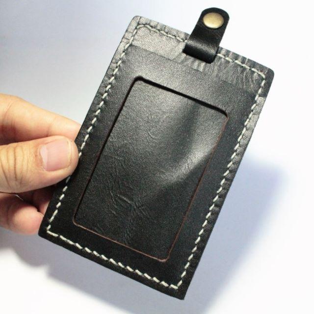 全手工縫製皮革直立式證件套、票卡夾 | 魔法黑