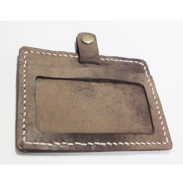 全手工縫製皮革橫式證件套、票卡夾   拿鐵棕