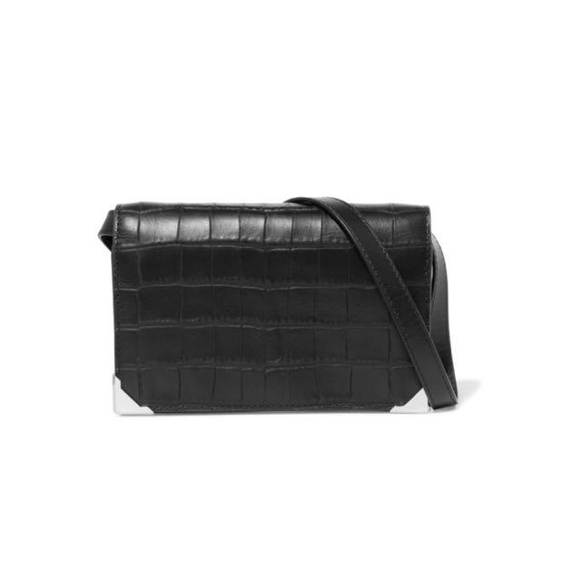 Alexander Wang Prisma Black Croc-Effect Leather Clutch