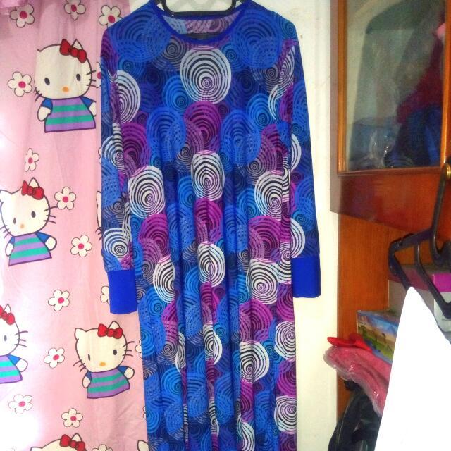 Baju Panjang Biru Pola