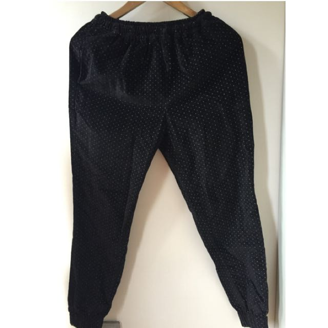 Black Polkadot Jogger Pants