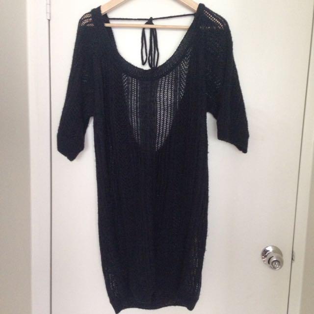 Black Vintage Open Back Woollen Top/Dress