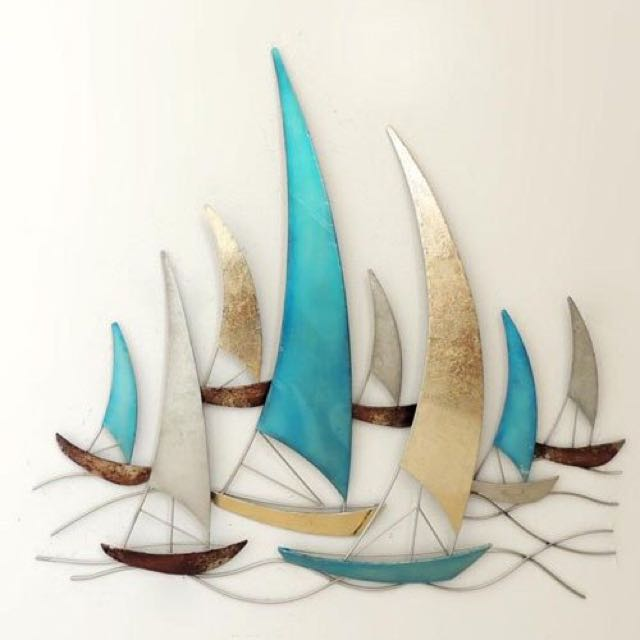 BOATS SEA LIFE FEATURE ART METAL WALL HANGING
