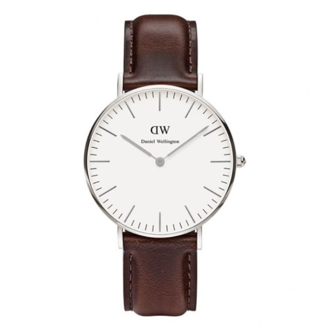 🗿DANIEL WELLINGTON DW 手錶 36mm 皮錶帶 銀色 0611DW