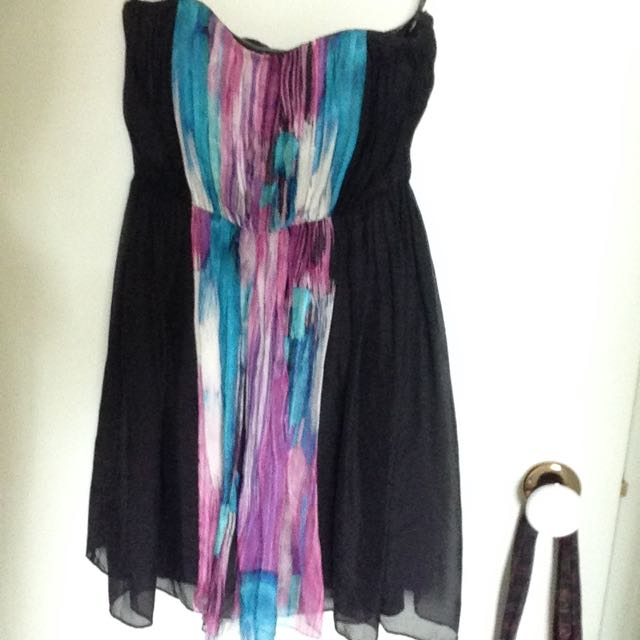 Forever New Silk Sz6 Dress, Black/purple/pink