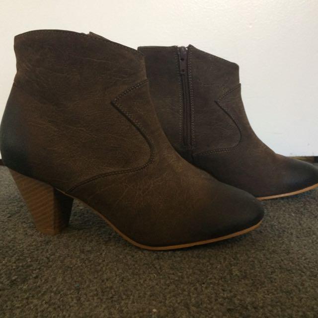 Beige High Heel Boots