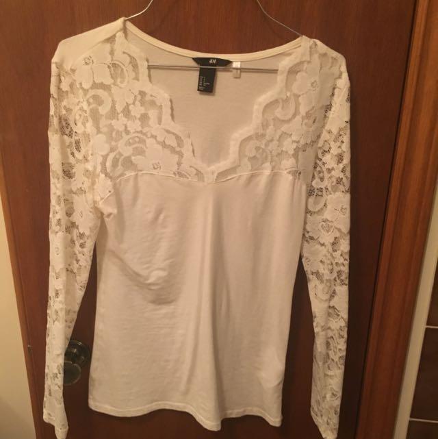 H&M Lace Long Sleeve Shirt