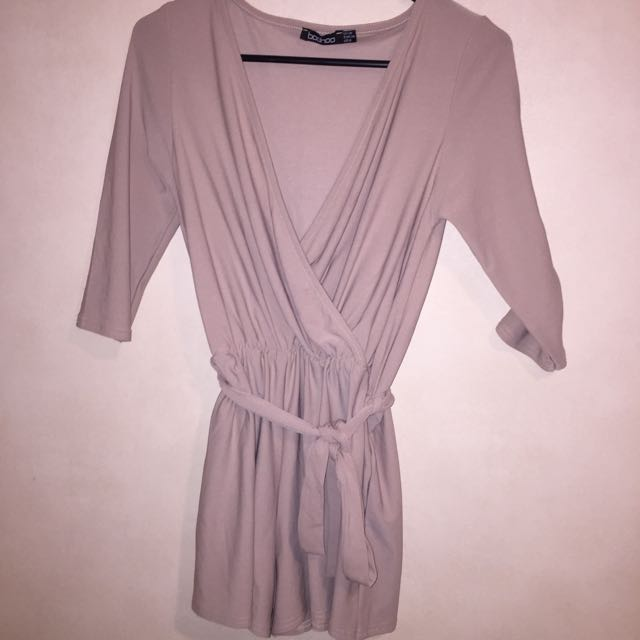 Nude Wrap Over Playsuit