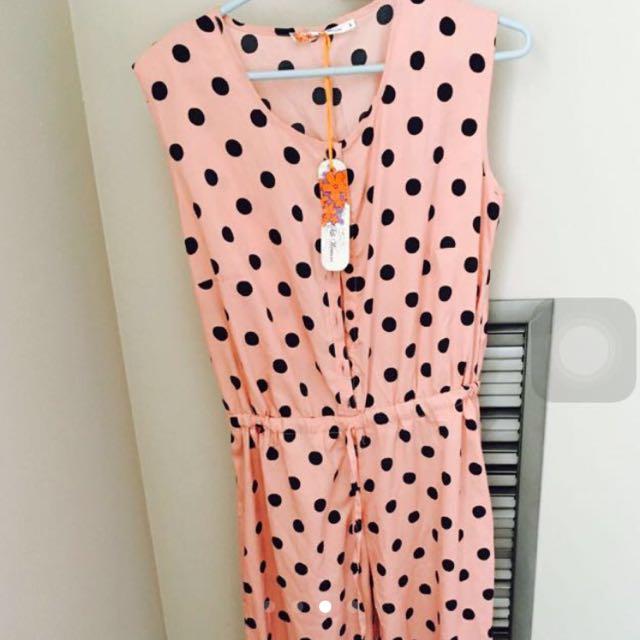 Pink & Black Dots Jumb Suit